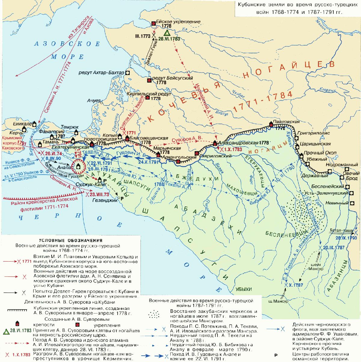 карта походов Суворова,Руменцева и Потемкина Mp_kuban