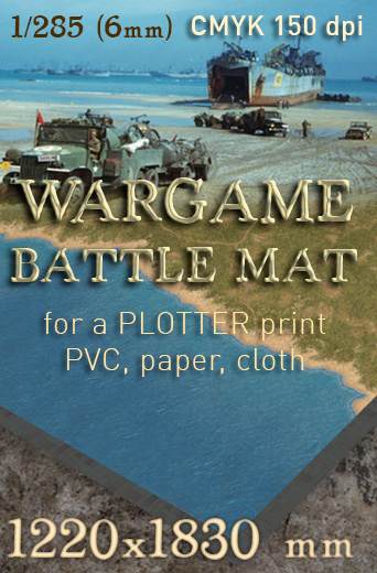 Coastal plain, The battlemat toptable 6mm wargames. A convenient and colourful 6mm scenery for playing at 'Team Yankee', 'BattleTech'...