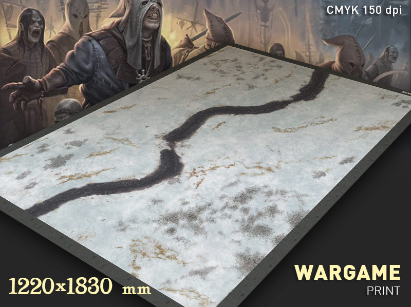 Winter Battlemat. A convenient and colourful wargame terrain such as 'Frostgrave', 'Bolt Action'...