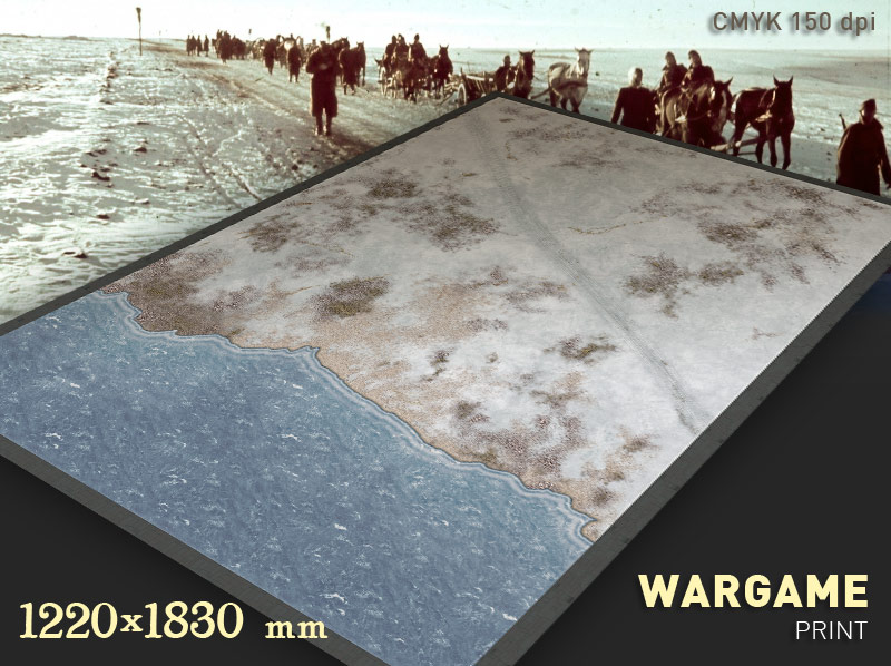 Wargame Battle mat (Winter Coastal plain 034v)