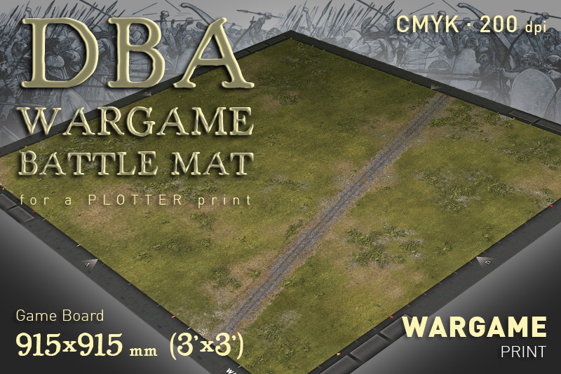 DBA Wargame Battle mat (Road Grass plain 014)