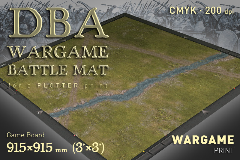 DBA Battle mat (1145)  Grass Plain River
