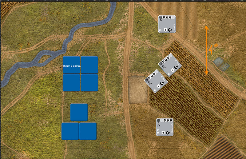 Wargame Battle mat (1/285 or 6mm) Assault series games by GDW, Stars and Crosses by Doug Anderson.