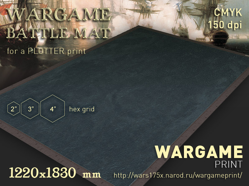 Wargame Battle mat (Sea plain 055) 2in, 3in, 4in hex grid