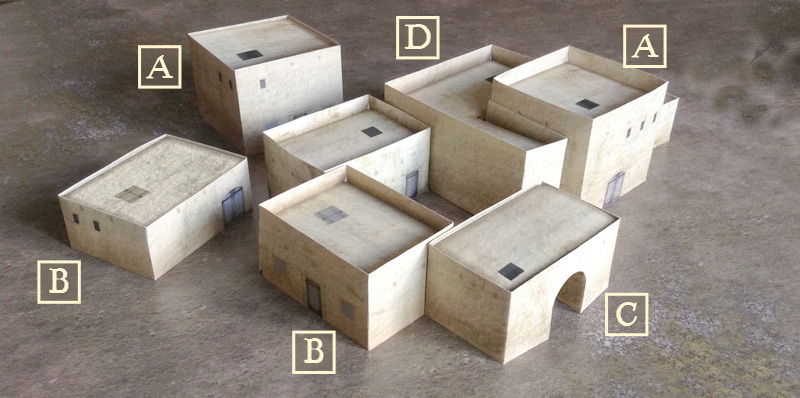 Paper model set: Arab Style Buildings. Foldable Paper Ccenery System. 28 mm, 1/72, 15 mm, 6mm scale