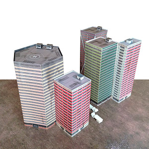 Foldable paper buldings model set 1/285