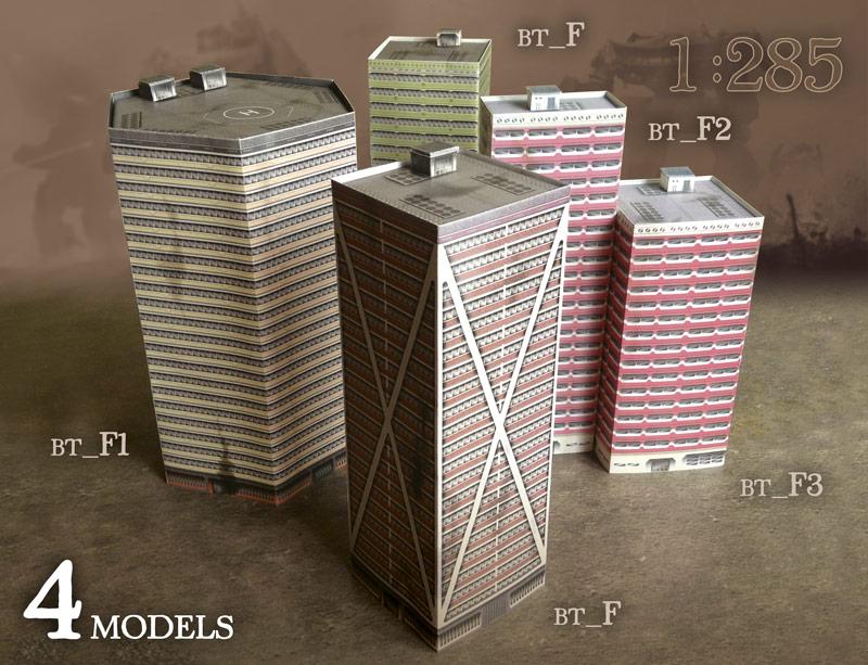 Foldable paper buldings model set 1/285