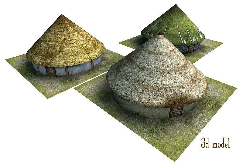 Paper model: The Celtic (Gallic) house. 28 mm, 1/72, 15 mm, 6mm scale