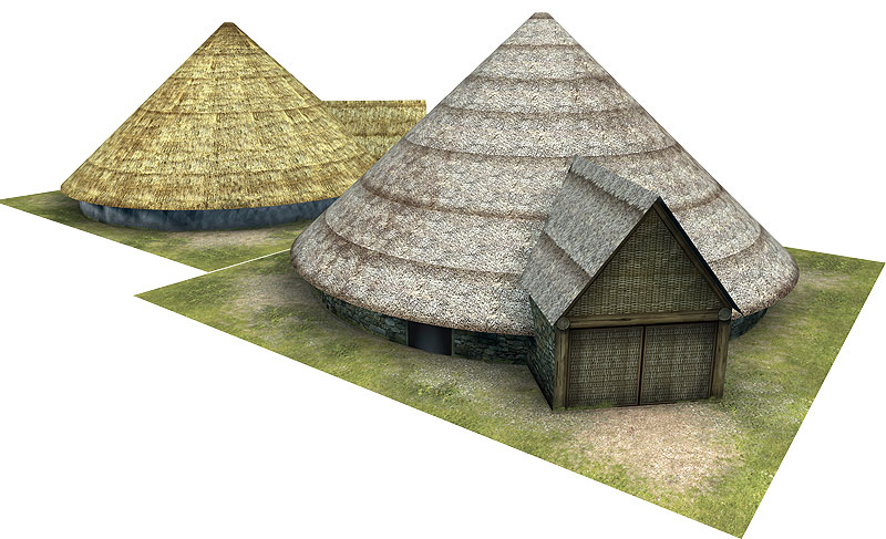Paper model: The Celtic (Gallic) Roundhouse. 28 mm, 1/72, 15 mm, 6mm scale