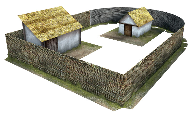 Paper model: Celtic (Gallic) Farmyard and Fences. 28 mm, 1/72, 15 mm, 6mm scale