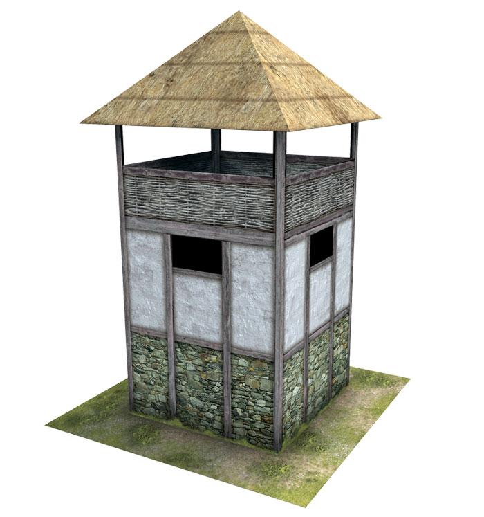 Paper model: Gallic Watch Tower. 28 mm, 1/72, 15 mm, 6mm scale
