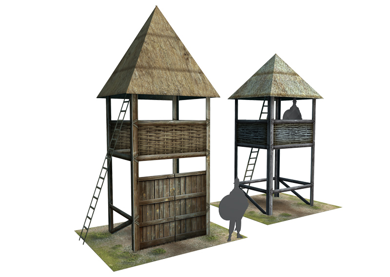 Paper model: Celtic (Gallic) small Watch Towers. 28 mm, 1/72, 15 mm, 6mm scale