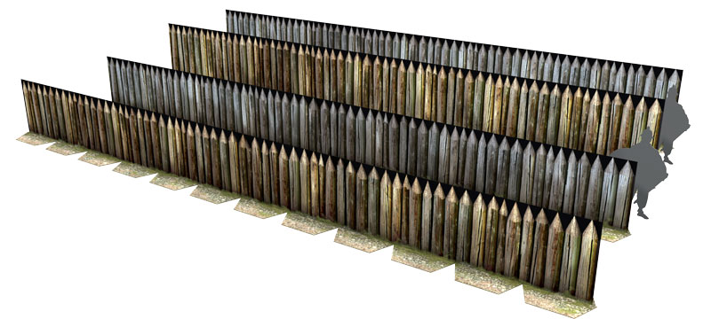 Paper model: Celtic (Gallic) Palisades. 28 mm, 1/72, 15 mm, 6mm scale