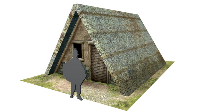 Paper model: Celtic (gallic) A-frame house. 28 mm, 1/72, 15 mm, 6mm scale