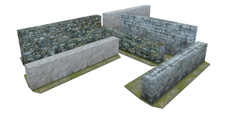 Paper model: stone fences & walls. 28 mm
