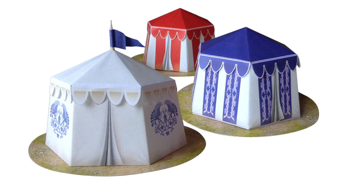 Paper model: Kislevite Tents. 28 mm, 1/72, 15 mm, 6mm scale
