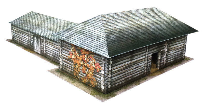Paper model: Russian Country Shed (Warehouse, Depot, Granary, Stable). 28 mm Scale and less...