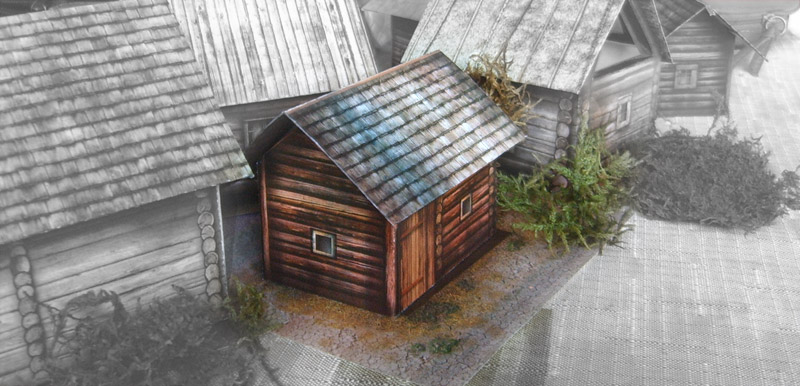 The paper model: Russian Bath-house. 28 mm Scale and less...