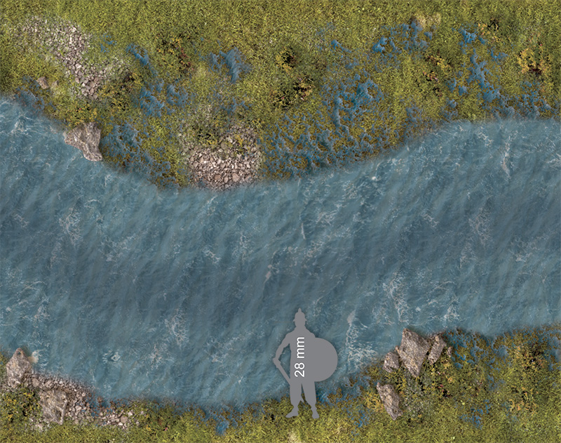 Wargame Paper modular set: The river stream (60 mm) Marshy banks