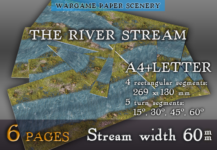 Paper model set: Wargame Paper modular set: The river stream (60 mm) Marshy banks. 28 mm, 1/72, 15 mm, 6mm scale