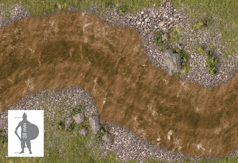 Wargame Paper modular set: The river stream (60 mm)