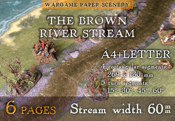 Wargame Paper modular set: The river stream (60 mm). 28 mm, 1/72, 15 mm, 6mm scale