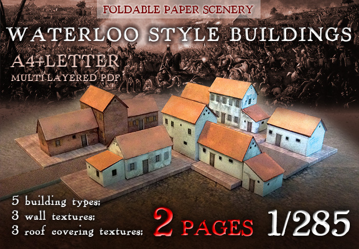 Paper model set 1:285 (6mm): Waterloo Style Buildings. Foldable Paper Scenery System.