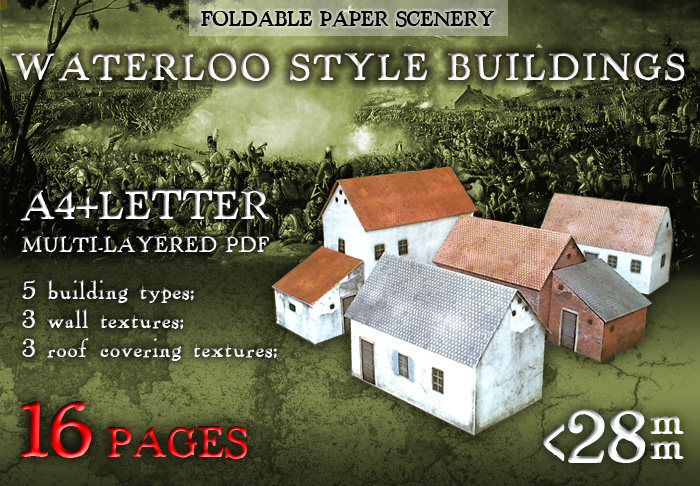 Paper model set: Waterloo Style Buildings. Foldable Paper Ccenery System. 28 mm, 1/72, 15 mm, 6mm scale